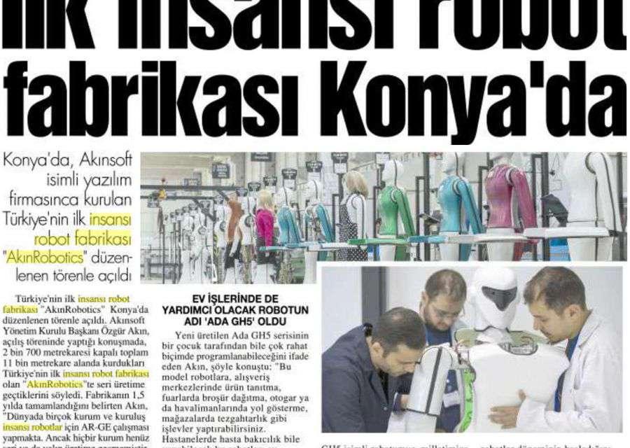 Türkiye'nin ve Dünyanın İlk İnsansı Robot Fabrikası AKINROBOTICS, Basında Yoğun İlgi İle Karşılandı
