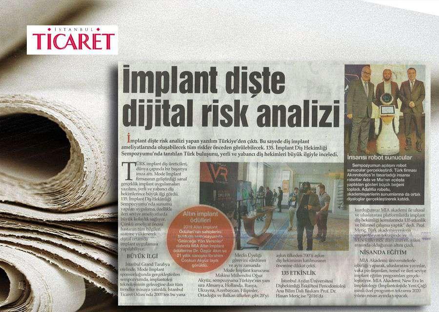 İstanbul Ticaret Gazetesi'nde Yer Alan Altın Implant Ödülleri Konulu Haber