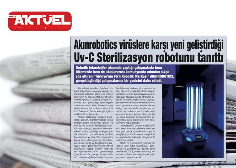 Konya Aktüel Dergisinde Yayınlanan UV-C Sterilizasyon Robotu Tanıtıldı Haberi